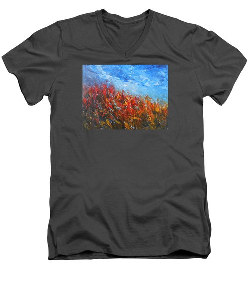 Men's V-Neck T-Shirt featuring the painting Red Sensation by Jane See