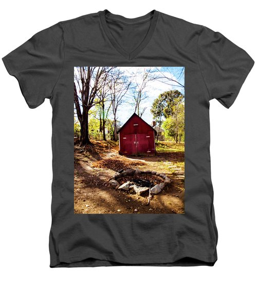 Red Shed Men's V-Neck T-Shirt by Randy Sylvia