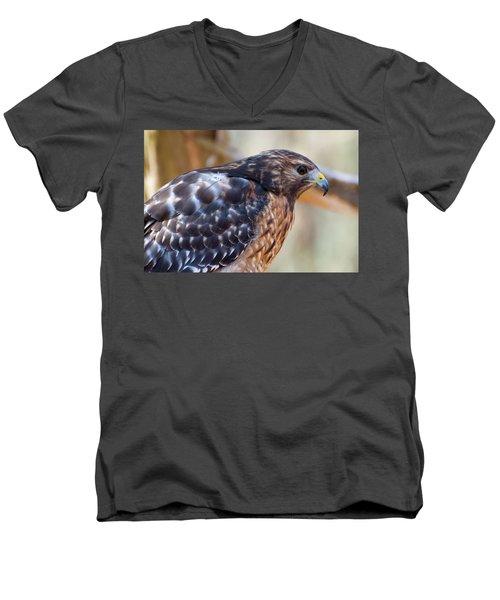Red Shouldered Hawk 2 Men's V-Neck T-Shirt by Chris Flees