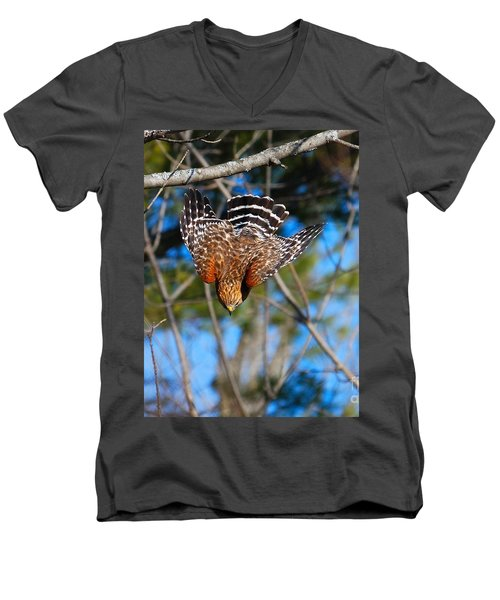 Men's V-Neck T-Shirt featuring the photograph Red-shouldered Hawk  by Debbie Stahre