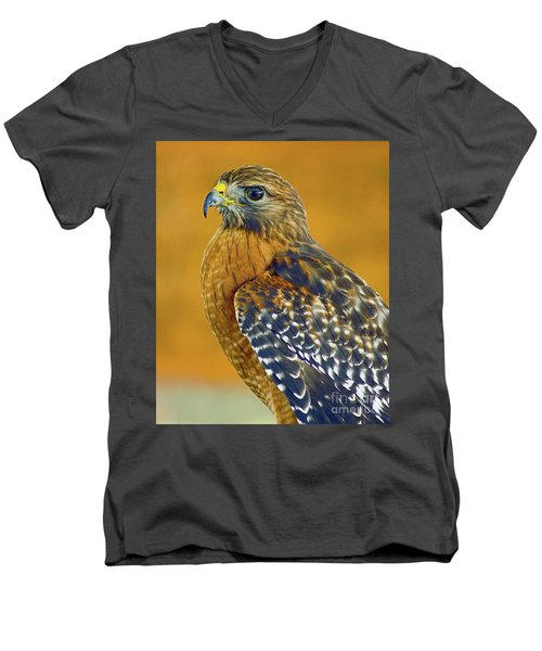 Men's V-Neck T-Shirt featuring the photograph Red Shouldered Hawk by Larry Nieland