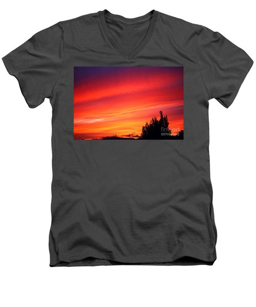 Men's V-Neck T-Shirt featuring the photograph Red Skies At Night  by Nick Gustafson
