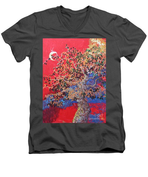 Red Sky And Tree Men's V-Neck T-Shirt