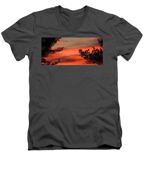 Red Sky At Night Men's V-Neck T-Shirt