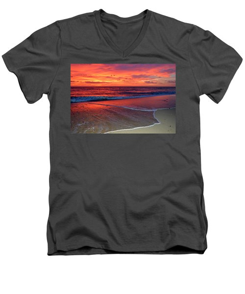 Red Sky In Morning Men's V-Neck T-Shirt