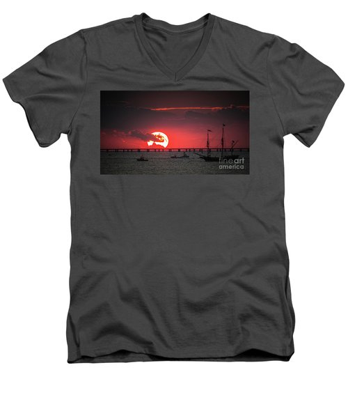Red Sky Men's V-Neck T-Shirt by Scott and Dixie Wiley