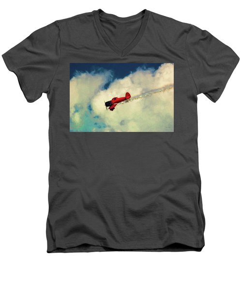 Red Sky Writer Men's V-Neck T-Shirt by Trey Foerster
