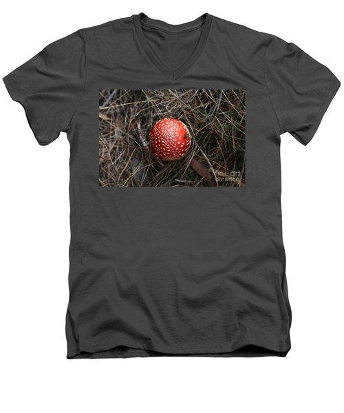 Red Spotty Toadstool Men's V-Neck T-Shirt by Nareeta Martin