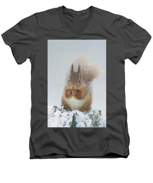 Red Squirrel With Snowflakes Men's V-Neck T-Shirt