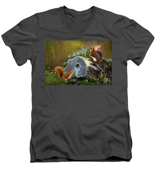 Red Squirrels Men's V-Neck T-Shirt by Thanh Thuy Nguyen