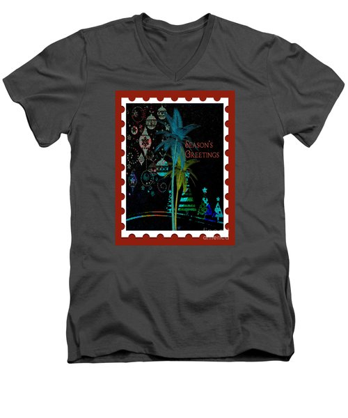 Men's V-Neck T-Shirt featuring the digital art Red Stamp by Megan Dirsa-DuBois