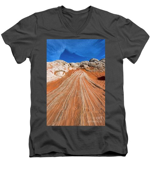 Men's V-Neck T-Shirt featuring the photograph Red Stone Highway by Mike Dawson