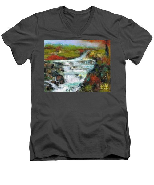 Yellow Fields With Red Sumac Men's V-Neck T-Shirt by Frances Marino