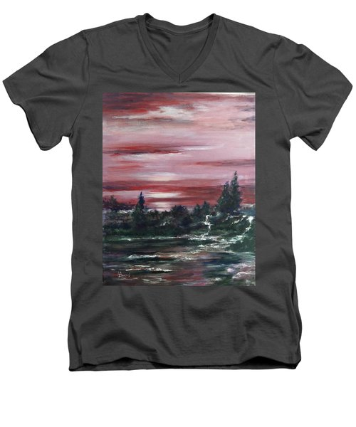 Men's V-Neck T-Shirt featuring the painting Red Sun Set  by Laila Awad Jamaleldin