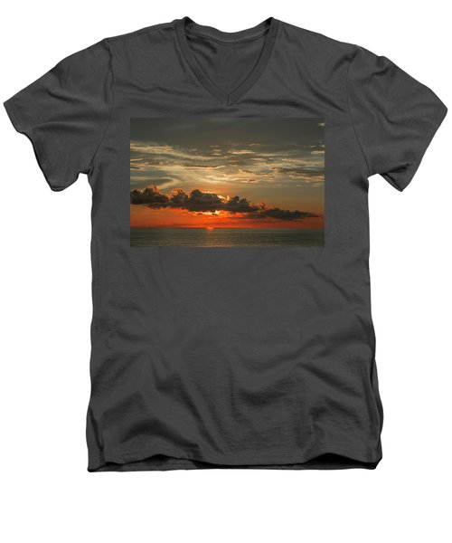Red Sunset And Dark Clouds Above Sea Men's V-Neck T-Shirt