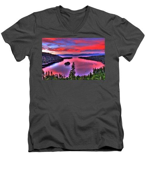 Red Tahoe Men's V-Neck T-Shirt by Scott Mahon