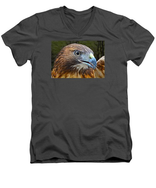 Red-tailed Hawk Portrait Men's V-Neck T-Shirt by Sandi OReilly