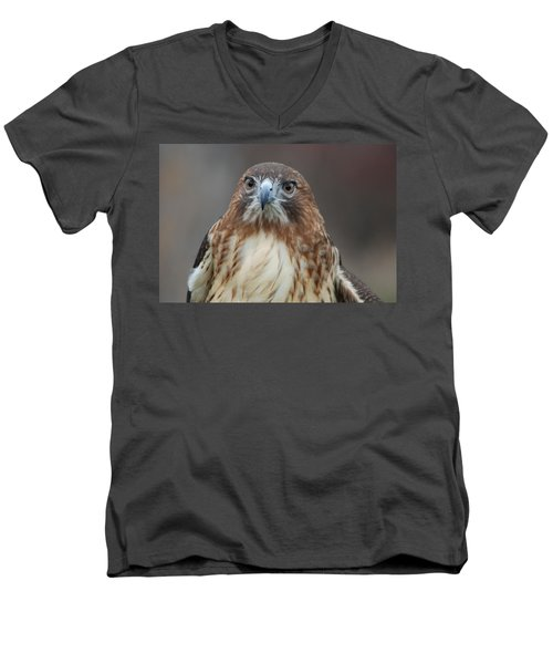 Men's V-Neck T-Shirt featuring the photograph Red Tailed Hawk by Richard Bryce and Family