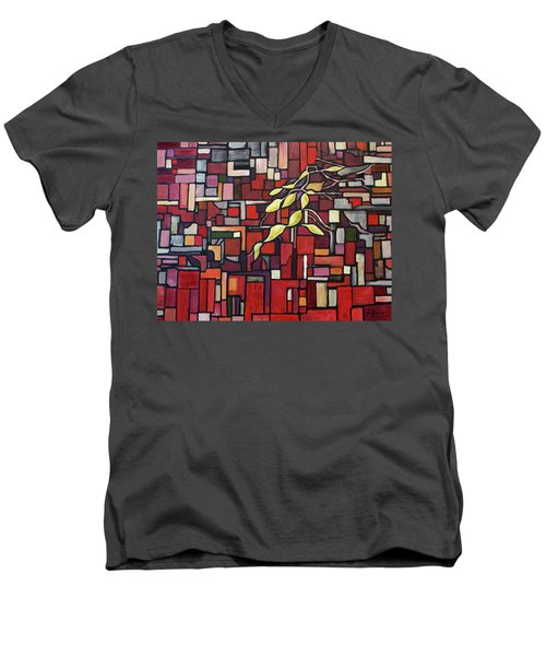 Men's V-Neck T-Shirt featuring the painting Red Tango by Joanne Smoley