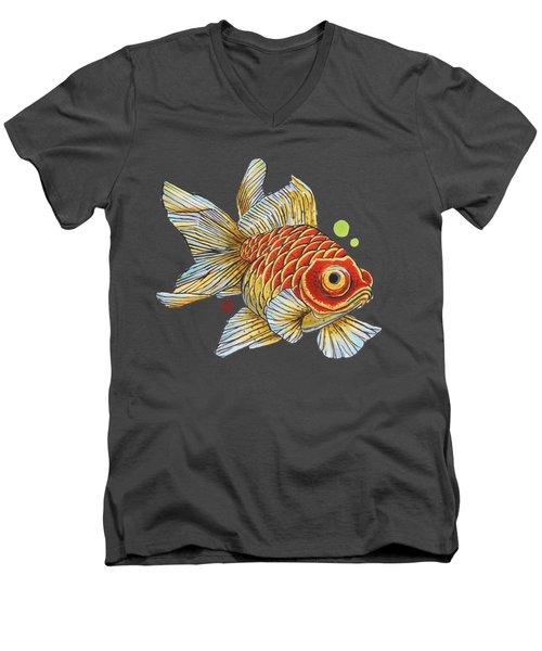 Red Telescope Goldfish Men's V-Neck T-Shirt by Shih Chang Yang