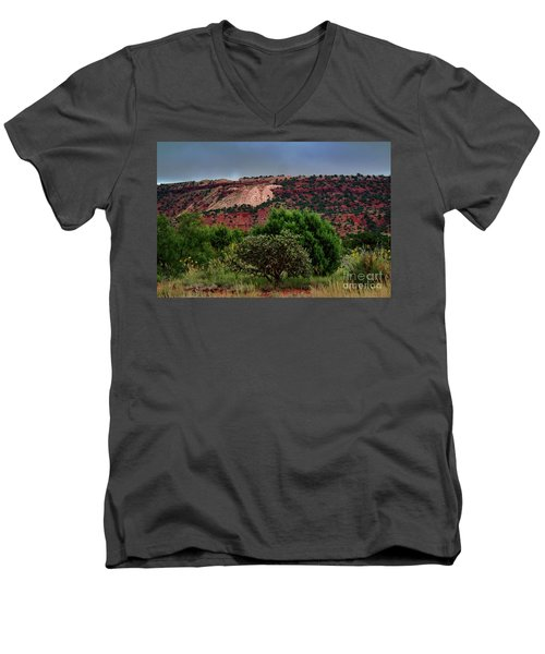 Men's V-Neck T-Shirt featuring the photograph Red Terrain - New Mexico by Diana Mary Sharpton