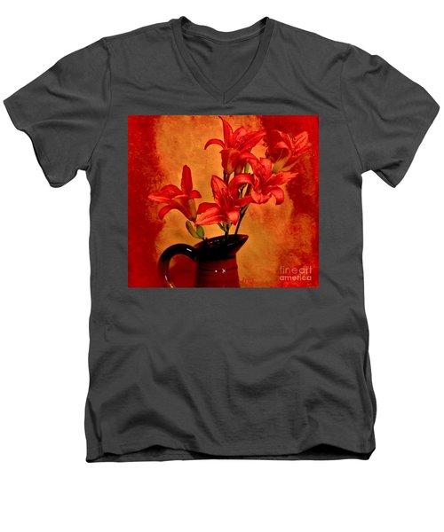 Red Tigerlilies In A Pitcher Men's V-Neck T-Shirt by Marsha Heiken
