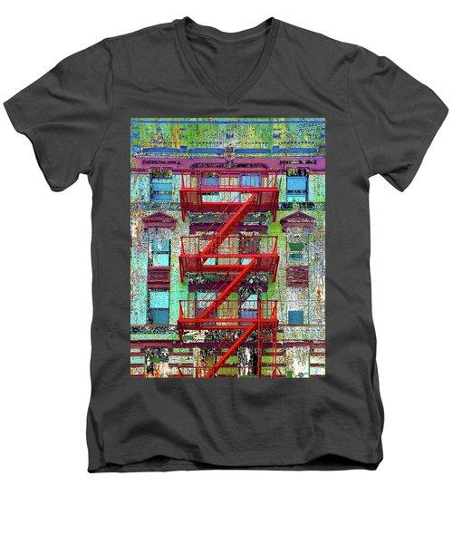 Men's V-Neck T-Shirt featuring the mixed media Red by Tony Rubino
