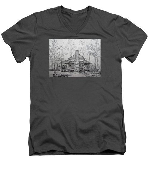 Men's V-Neck T-Shirt featuring the painting Red Top Mountain's Log Cabin by Gretchen Allen