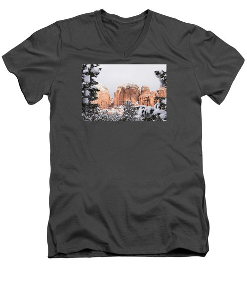 Men's V-Neck T-Shirt featuring the photograph Red Towers Under Snow by Laura Pratt