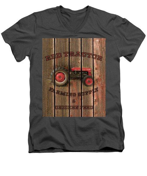 Red Tractor Farming Supply Men's V-Neck T-Shirt