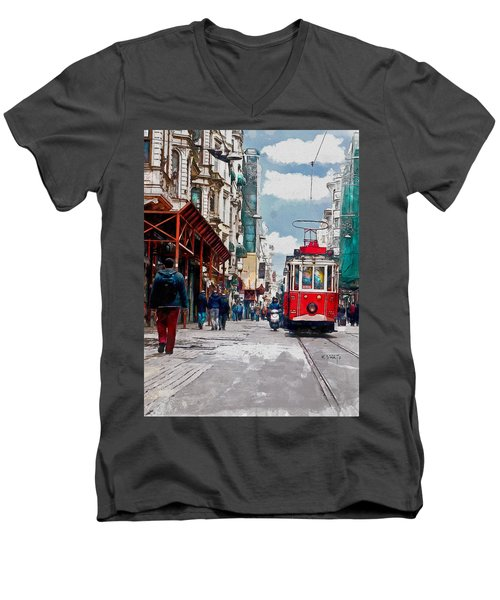 Red Tram Men's V-Neck T-Shirt by Kai Saarto