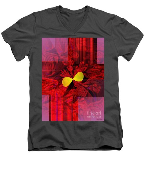 Red Transparency Men's V-Neck T-Shirt by Thibault Toussaint
