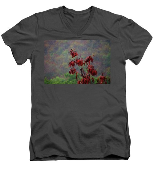 Red Tree In The Rain Men's V-Neck T-Shirt by Michael Thomas