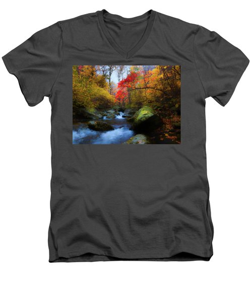 Red Tree In White Oak Canyon Men's V-Neck T-Shirt
