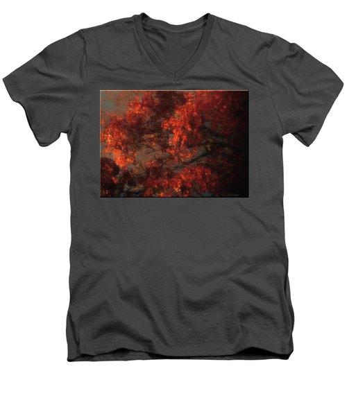 Red Tree Scene Men's V-Neck T-Shirt by Mikki Cucuzzo