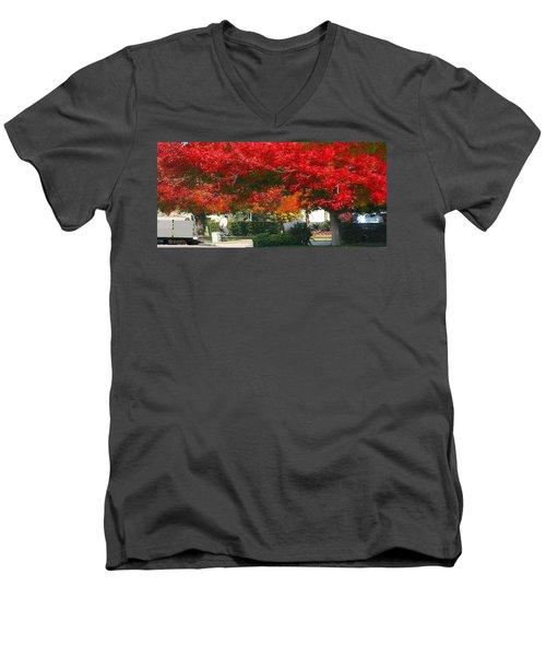 Red Trees Men's V-Neck T-Shirt