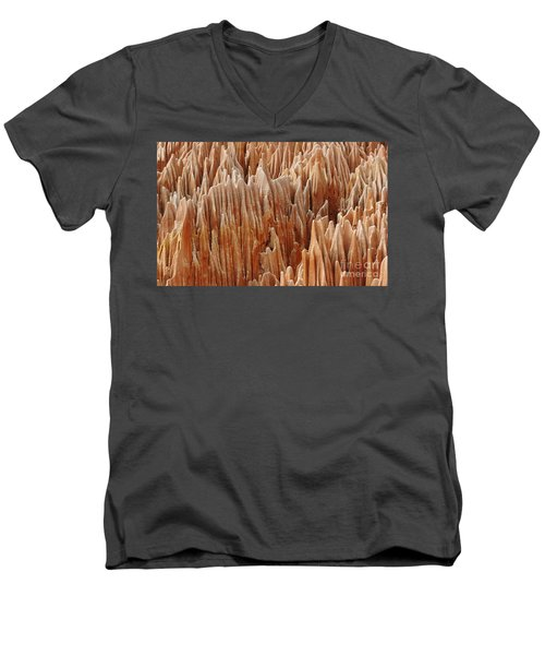 Men's V-Neck T-Shirt featuring the photograph red Tsingy Madagascar 4 by Rudi Prott