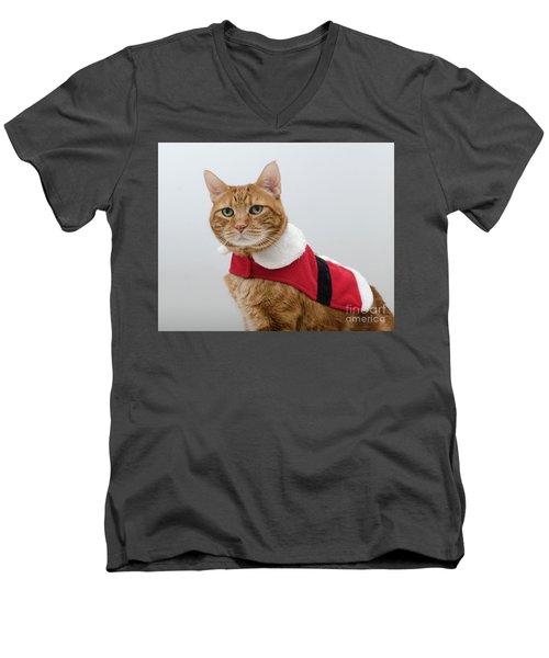 Red Tubby Cat Tabasco Santa Clause Men's V-Neck T-Shirt