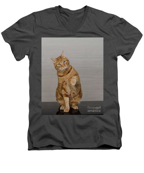 Red Tubby Cat Tabasco Waiving Men's V-Neck T-Shirt