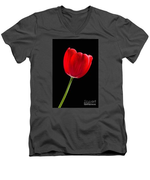 Men's V-Neck T-Shirt featuring the photograph Red Tulip No. 1  - By Flower Photographer David Perry Lawrence by David Perry Lawrence