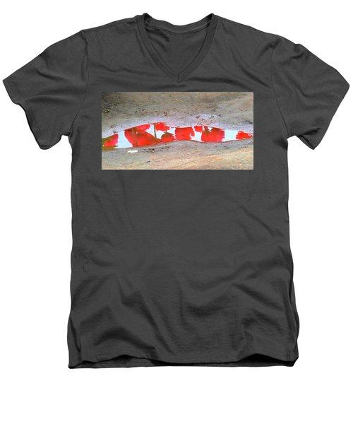 Men's V-Neck T-Shirt featuring the photograph Red Tulip Reflection by Karen Molenaar Terrell