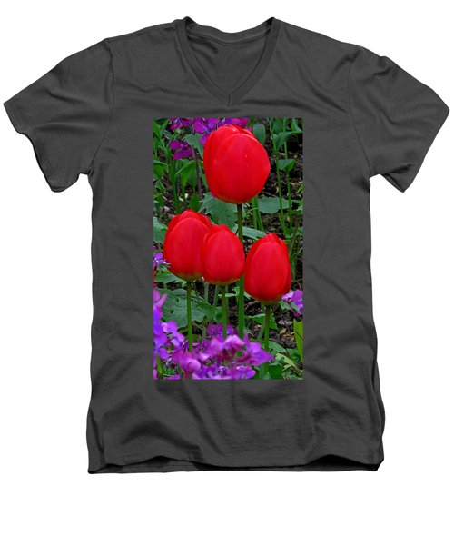 Red Tulips Men's V-Neck T-Shirt by John Topman