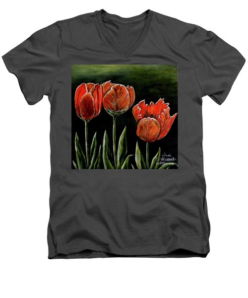Men's V-Neck T-Shirt featuring the photograph Red Tulips by Judy Kirouac