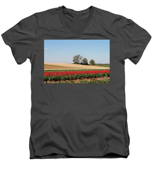 Red Tulips Landscape Men's V-Neck T-Shirt