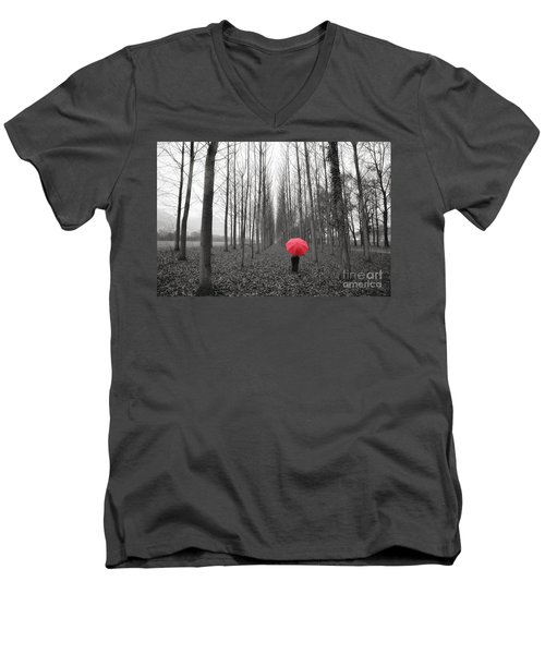 Red Umbrella In An Allee Men's V-Neck T-Shirt