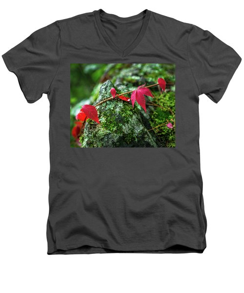 Men's V-Neck T-Shirt featuring the photograph Red Vine by Bill Pevlor