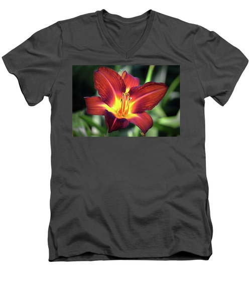Men's V-Neck T-Shirt featuring the photograph Red Volunteer. by Terence Davis