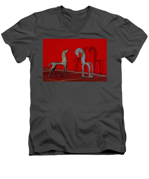 Men's V-Neck T-Shirt featuring the digital art Red Wall Horse Statues by Jana Russon