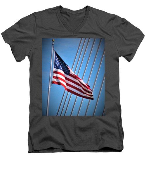 Red, White And Blue Men's V-Neck T-Shirt