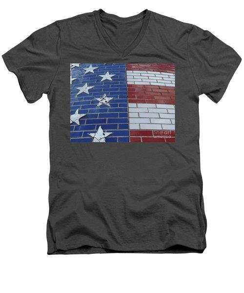 Red White And Blue On Brick Men's V-Neck T-Shirt